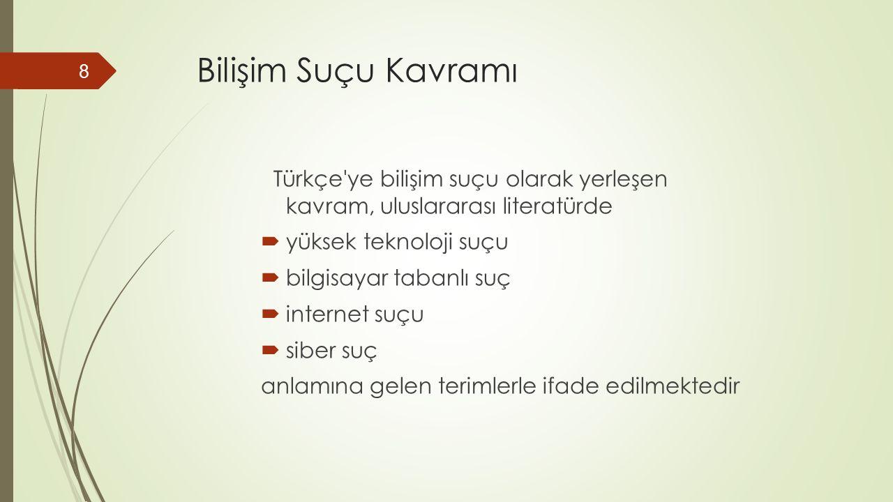 Bilişim Suçu Kavramı Türkçe ye bilişim suçu olarak yerleşen kavram, uluslararası literatürde  yüksek teknoloji suçu  bilgisayar tabanlı suç  internet suçu  siber suç anlamına gelen terimlerle ifade edilmektedir 8