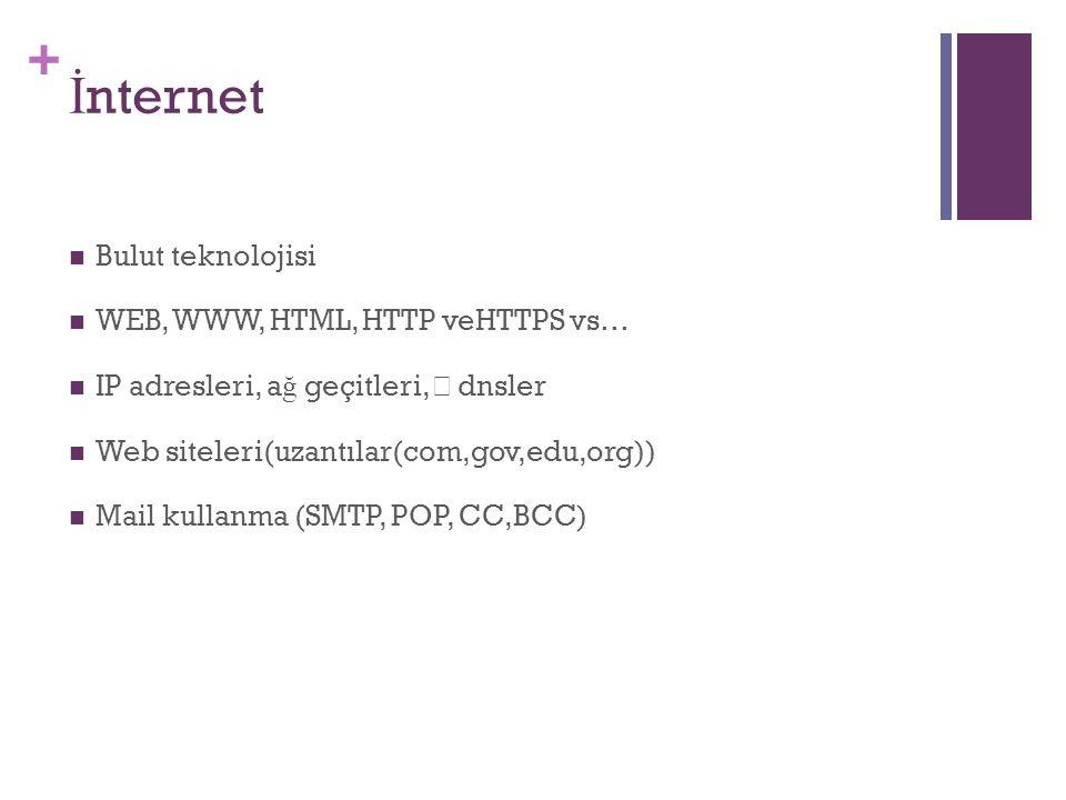 + Bulut teknolojisi WEB, WWW, HTML, HTTP veHTTPS vs… IP adresleri, a ğ geçitleri, dnsler Web siteleri(uzantılar(com,gov,edu,org)) Mail kullanma (SMTP, POP, CC,BCC)