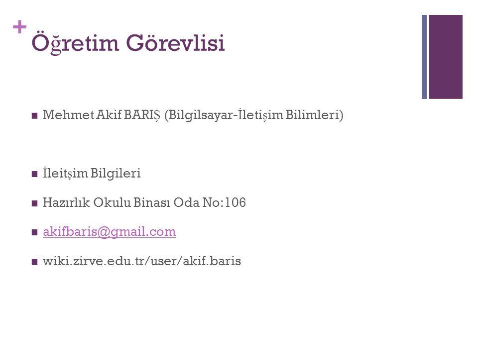 + Ö ğ retim Görevlisi Mehmet Akif BARI Ş (Bilgilsayar- İ leti ş im Bilimleri) İ leit ş im Bilgileri Hazırlık Okulu Binası Oda No:106 akifbaris@gmail.c
