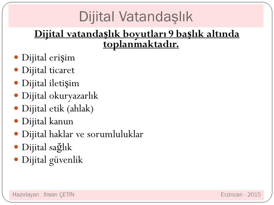 Dijital Vatandaşlık Dijital vatanda ş lık boyutları 9 ba ş lık altında toplanmaktadır.