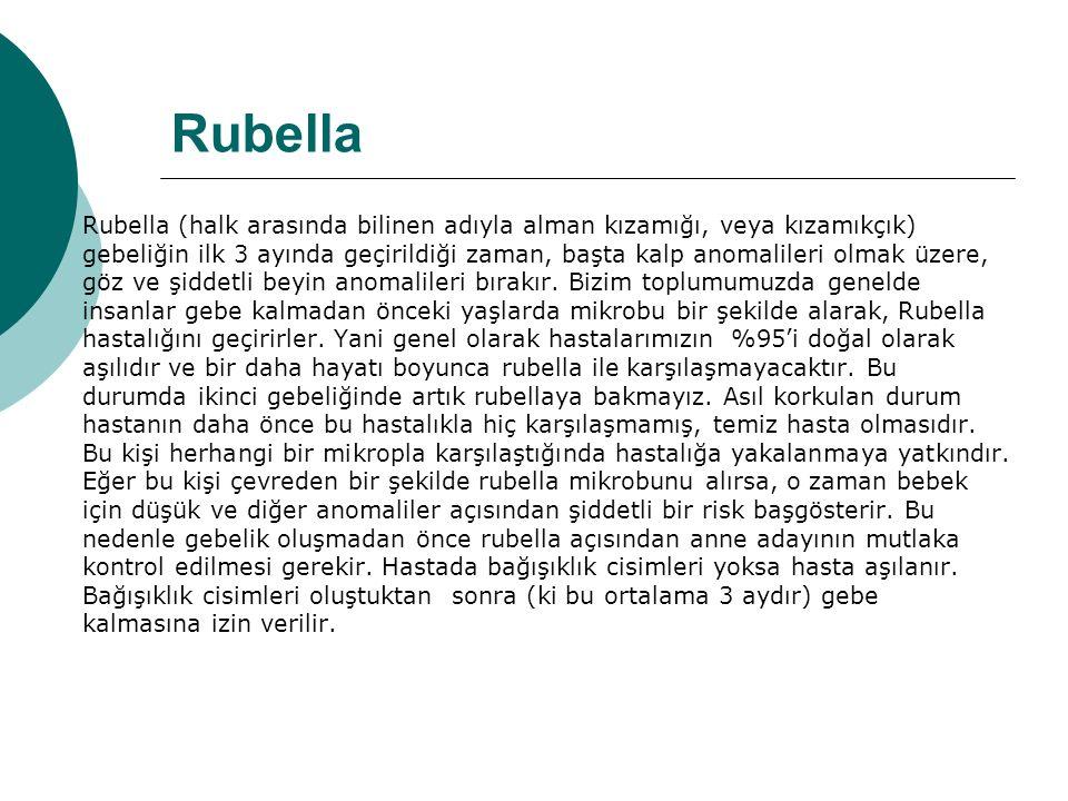 Rubella Rubella (halk arasında bilinen adıyla alman kızamığı, veya kızamıkçık) gebeliğin ilk 3 ayında geçirildiği zaman, başta kalp anomalileri olmak üzere, göz ve şiddetli beyin anomalileri bırakır.