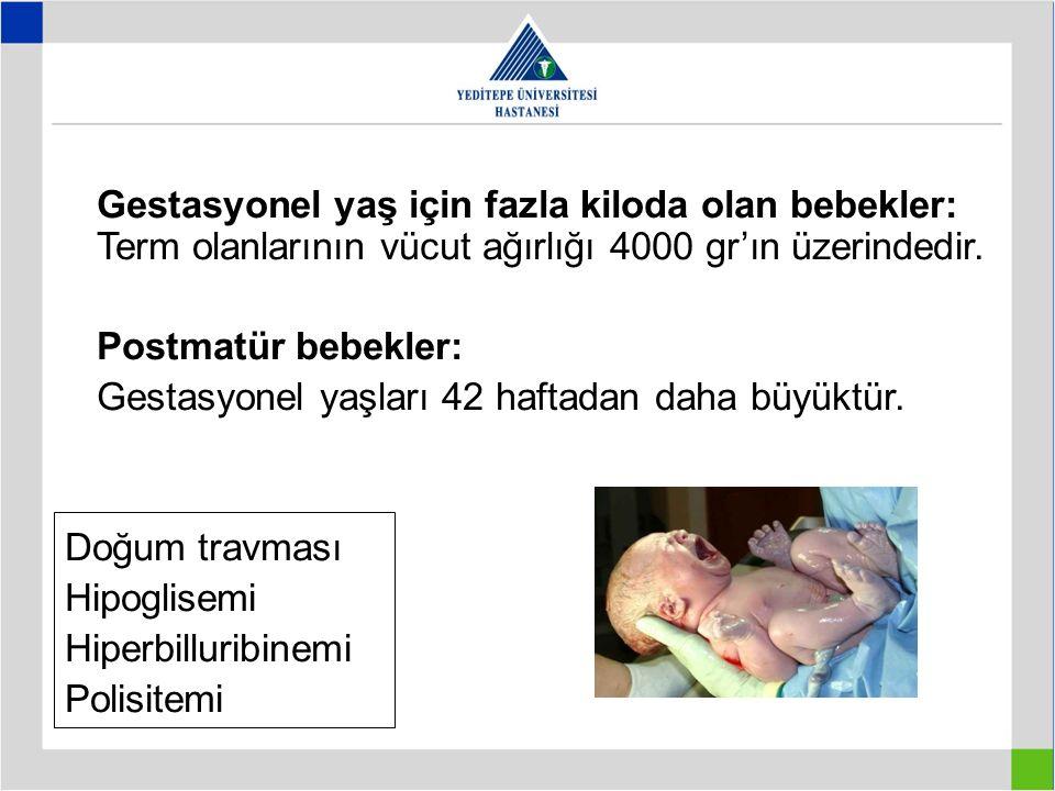 Gestasyonel yaş için fazla kiloda olan bebekler: Term olanlarının vücut ağırlığı 4000 gr'ın üzerindedir. Postmatür bebekler: Gestasyonel yaşları 42 ha