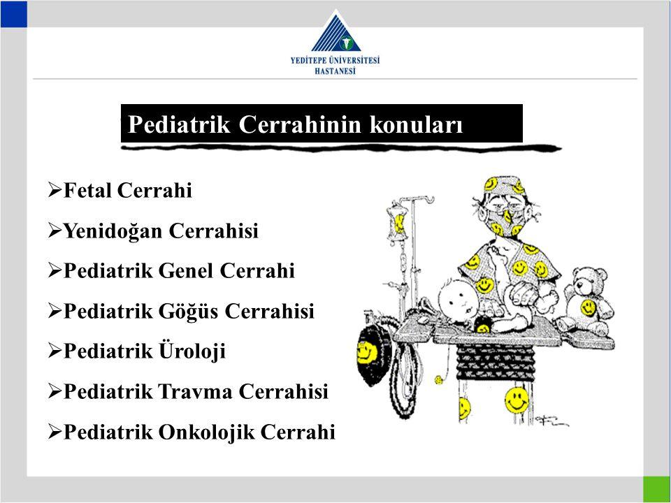 Pediatrik Cerrahinin konuları  Fetal Cerrahi  Yenidoğan Cerrahisi  Pediatrik Genel Cerrahi  Pediatrik Göğüs Cerrahisi  Pediatrik Üroloji  Pediat