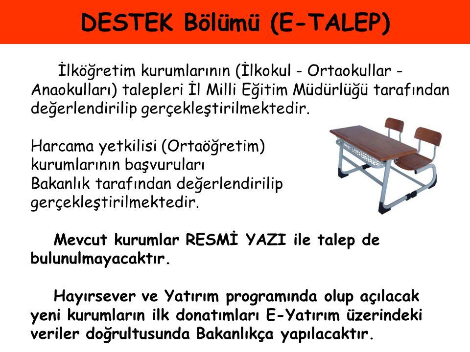 DESTEK Bölümü (E-TALEP) İlköğretim kurumlarının (İlkokul - Ortaokullar - Anaokulları) talepleri İl Milli Eğitim Müdürlüğü tarafından değerlendirilip g