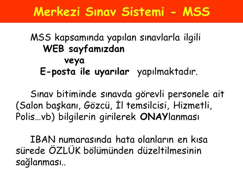 Merkezi Sınav Sistemi - MSS MSS kapsamında yapılan sınavlarla ilgili WEB sayfamızdan veya E-posta ile uyarılar yapılmaktadır. Sınav bitiminde sınavda
