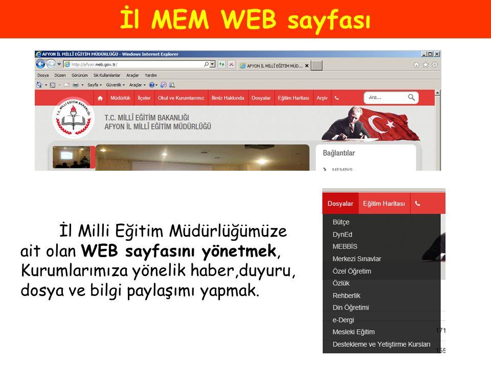 İl MEM WEB sayfası İl Milli Eğitim Müdürlüğümüze ait olan WEB sayfasını yönetmek, Kurumlarımıza yönelik haber,duyuru, dosya ve bilgi paylaşımı yapmak.