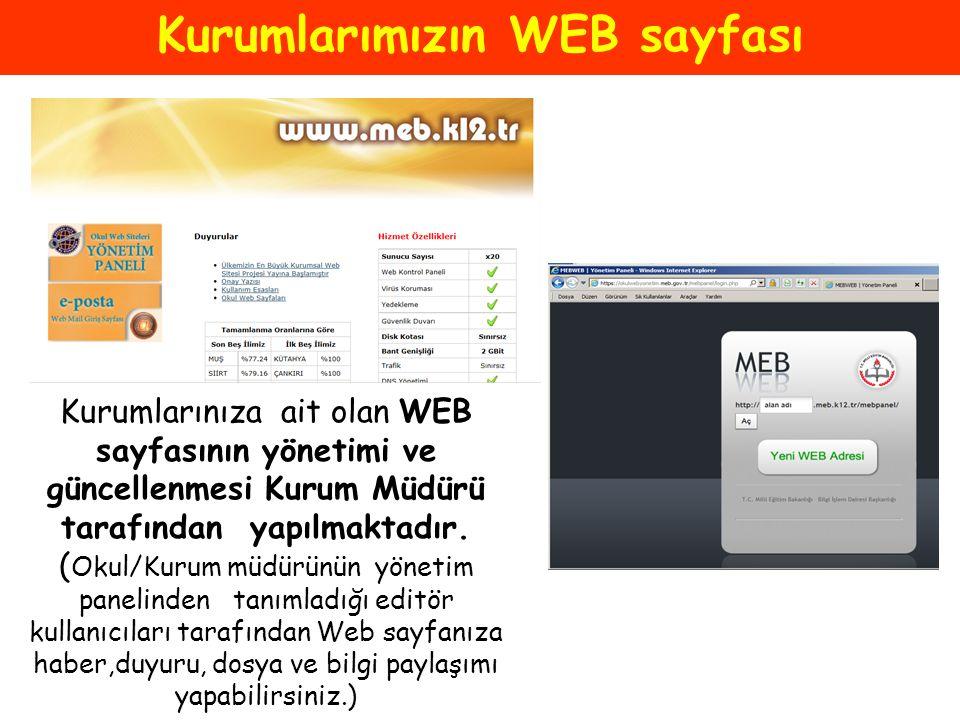 Kurumlarımızın WEB sayfası Kurumlarınıza ait olan WEB sayfasının yönetimi ve güncellenmesi Kurum Müdürü tarafından yapılmaktadır. ( Okul/Kurum müdürün