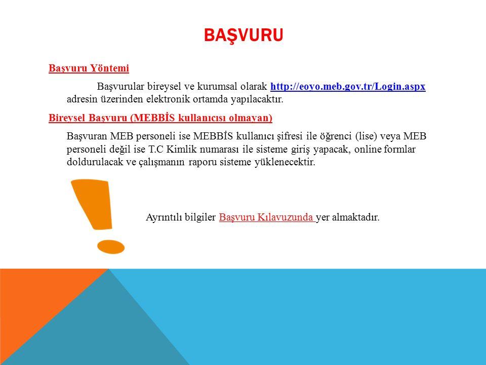 BAŞVURU Başvuru Yöntemi Başvurular bireysel ve kurumsal olarak http://eoyo.meb.gov.tr/Login.aspx adresin üzerinden elektronik ortamda yapılacaktır.