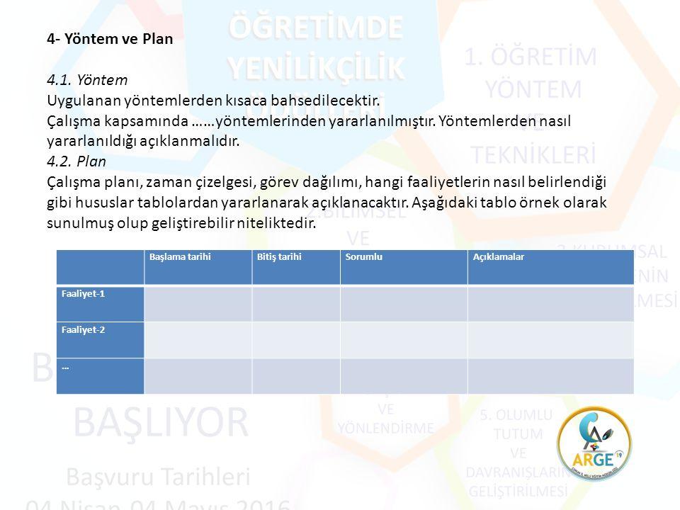4- Yöntem ve Plan 4.1. Yöntem Uygulanan yöntemlerden kısaca bahsedilecektir.