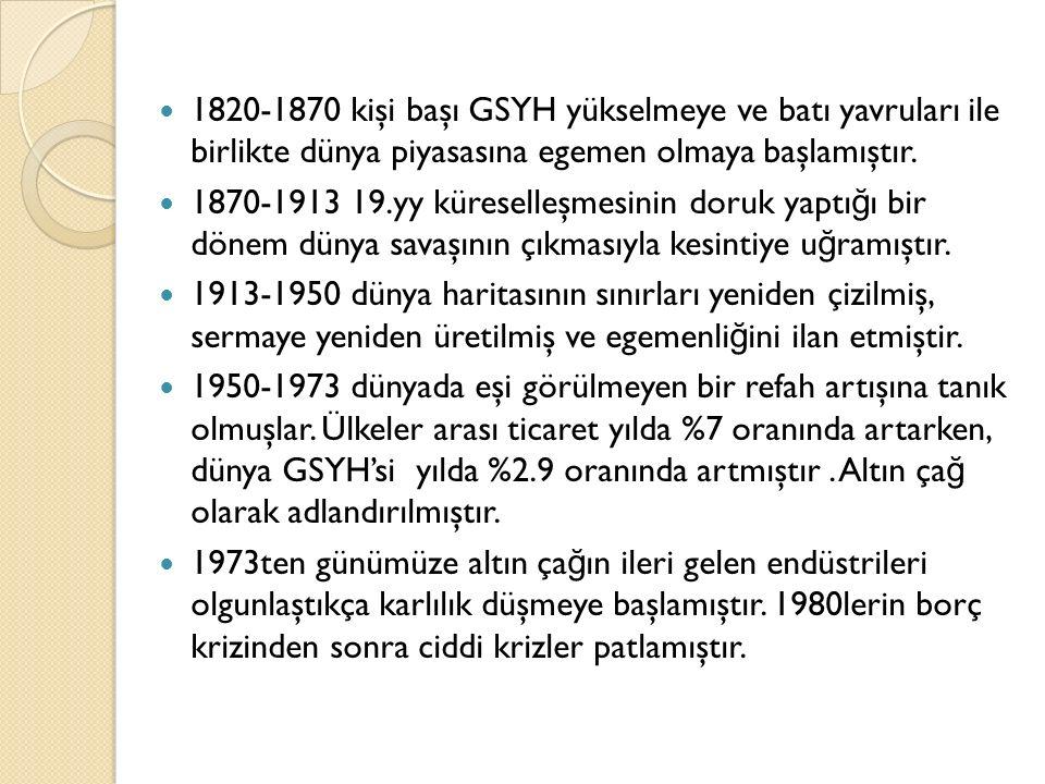 1820-1870 kişi başı GSYH yükselmeye ve batı yavruları ile birlikte dünya piyasasına egemen olmaya başlamıştır.