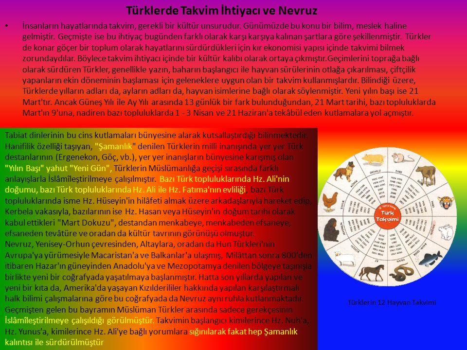 Türklerde Takvim İhtiyacı ve Nevruz İnsanların hayatlarında takvim, gerekli bir kültür unsurudur.