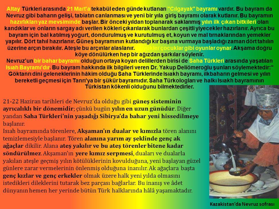 Altay Türkleri arasında 21 Mart a tekabül eden günde kutlanan Cılgayak bayramı vardır.
