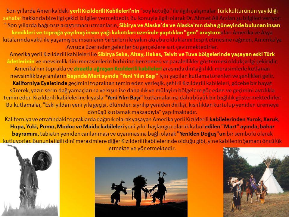 Son yıllarda Amerika daki yerli Kızılderili Kabileleri nin soy kütüğü ile ilgili çalışmalar Türk kültürünün yayıldığı sahalar hakkında bize ilgi çekici bilgiler vermektedir.