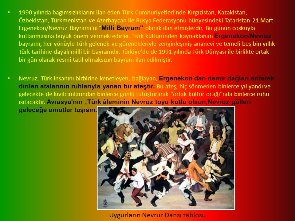 1990 yılında bağımsızlıklarını ilan eden Türk Cumhuriyetleri nde Kırgızistan, Kazakistan, Özbekistan, Türkmenistan ve Azerbaycan ile Rusya Federasyonu bünyesindeki Tataristan 21 Mart Ergenekon/Nevruz Bayramı nı Milli Bayram olarak ilan etmişlerdir.