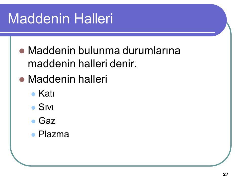 27 Maddenin Halleri Maddenin bulunma durumlarına maddenin halleri denir. Maddenin halleri Katı Sıvı Gaz Plazma
