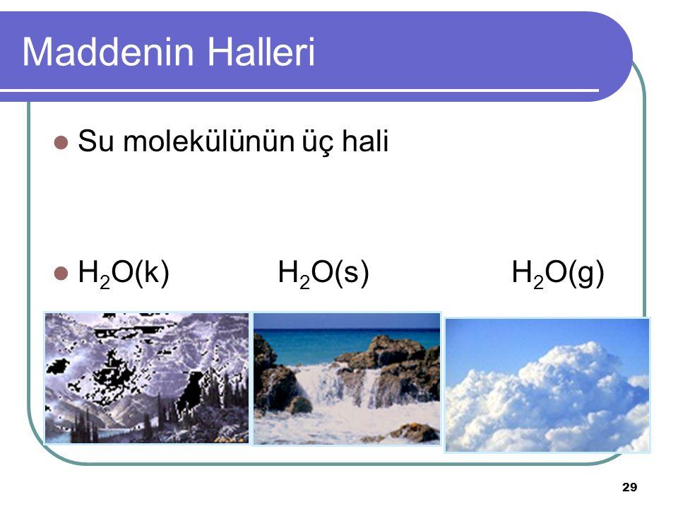 29 Maddenin Halleri Su molekülünün üç hali H 2 O(k) H 2 O(s) H 2 O(g)