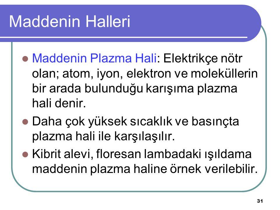 31 Maddenin Halleri Maddenin Plazma Hali: Elektrikçe nötr olan; atom, iyon, elektron ve moleküllerin bir arada bulunduğu karışıma plazma hali denir. D