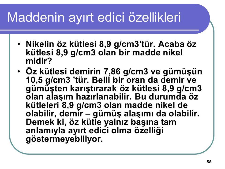 58 Maddenin ayırt edici özellikleri Nikelin öz kütlesi 8,9 g/cm3'tür. Acaba öz kütlesi 8,9 g/cm3 olan bir madde nikel midir? Öz kütlesi demirin 7,86 g