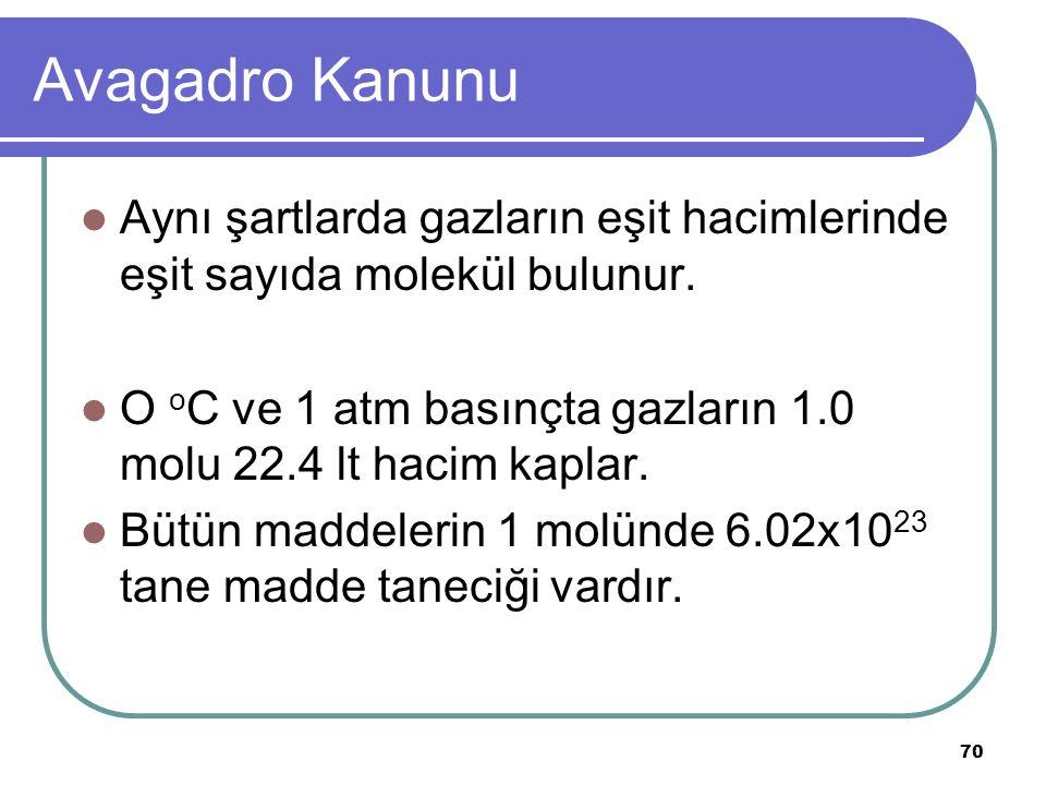 70 Avagadro Kanunu Aynı şartlarda gazların eşit hacimlerinde eşit sayıda molekül bulunur. O o C ve 1 atm basınçta gazların 1.0 molu 22.4 lt hacim kapl