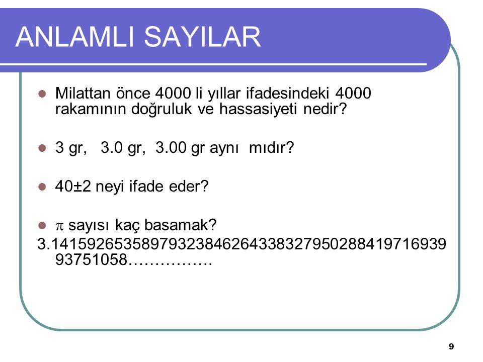 9 ANLAMLI SAYILAR Milattan önce 4000 li yıllar ifadesindeki 4000 rakamının doğruluk ve hassasiyeti nedir? 3 gr, 3.0 gr, 3.00 gr aynı mıdır? 40±2 neyi