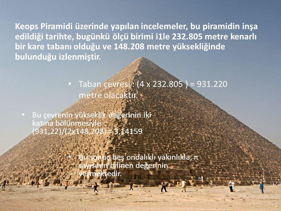 Keops Piramidi üzerinde yapılan incelemeler, bu piramidin inşa edildiği tarihte, bugünkü ölçü birimi i1le 232.805 metre kenarlı bir kare tabanı olduğu ve 148.208 metre yüksekliğinde bulunduğu izlenmiştir.
