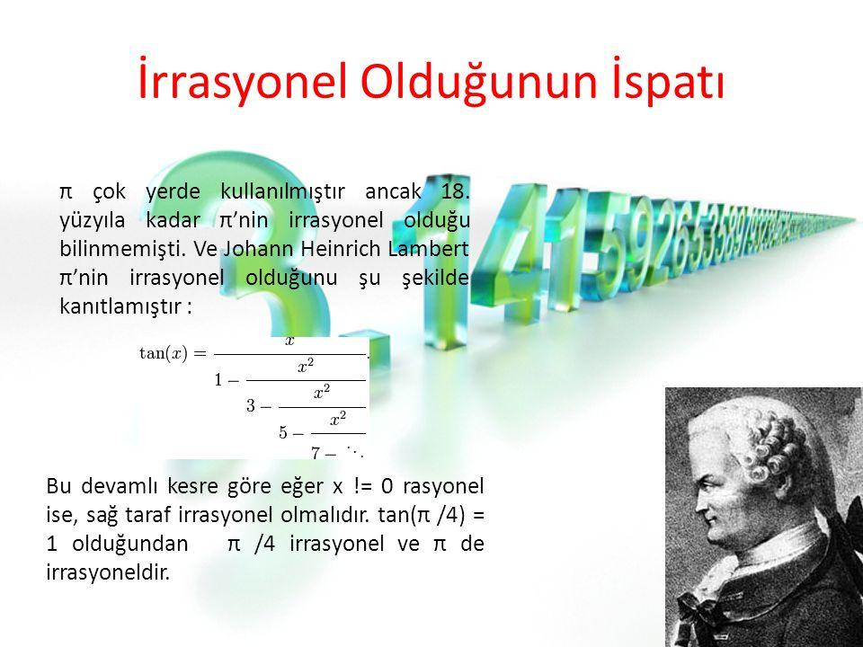 İrrasyonel Olduğunun İspatı π çok yerde kullanılmıştır ancak 18.