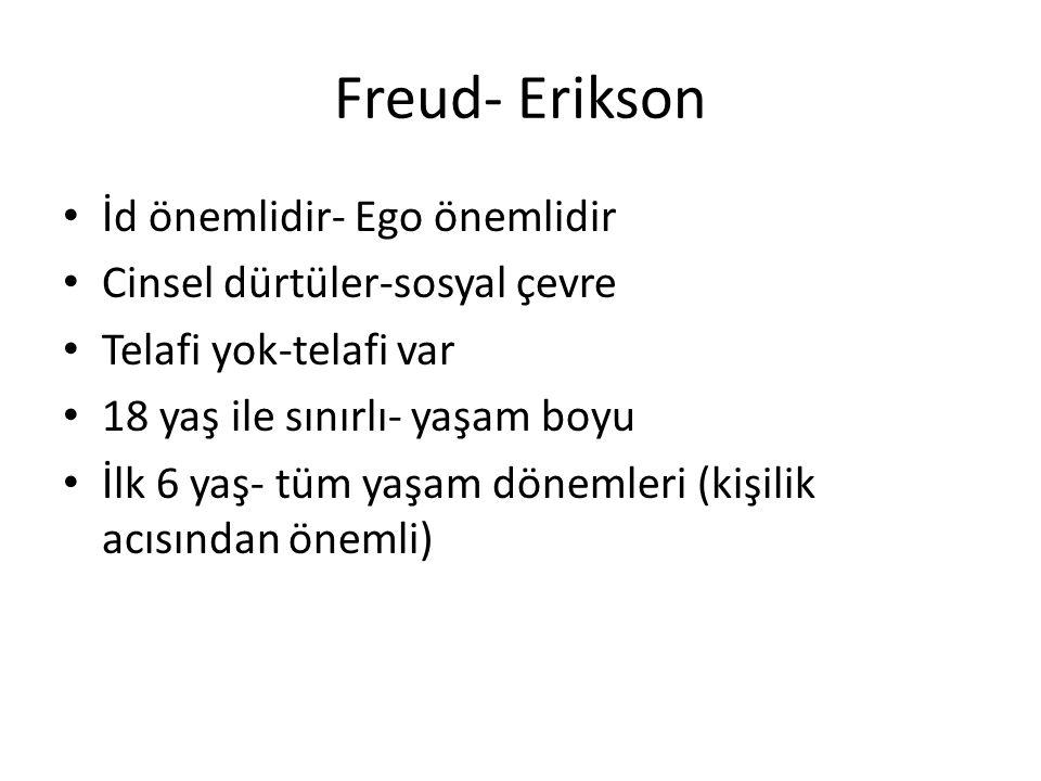 Freud- Erikson İd önemlidir- Ego önemlidir Cinsel dürtüler-sosyal çevre Telafi yok-telafi var 18 yaş ile sınırlı- yaşam boyu İlk 6 yaş- tüm yaşam dönemleri (kişilik acısından önemli)