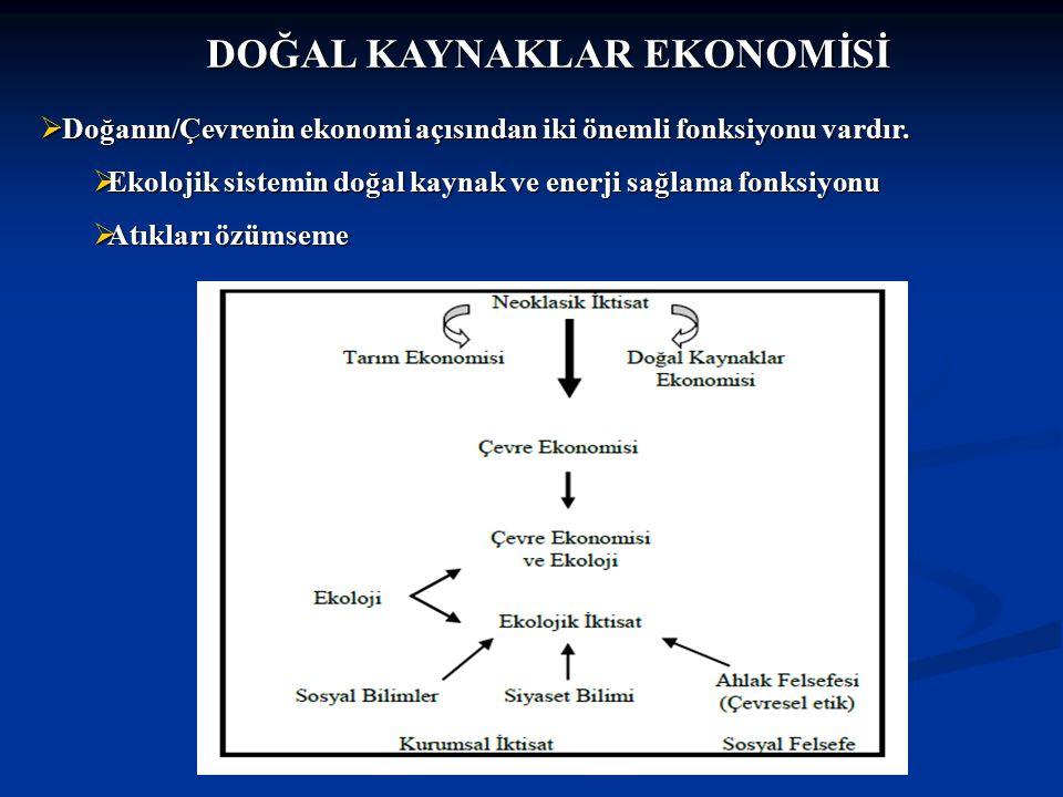 DOĞAL KAYNAKLAR EKONOMİSİ  Doğanın/Çevrenin ekonomi açısından iki önemli fonksiyonu vardır.  Ekolojik sistemin doğal kaynak ve enerji sağlama fonksi