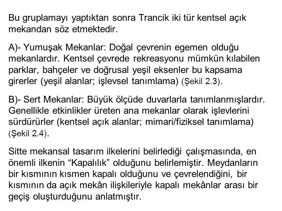 Bu gruplamayı yaptıktan sonra Trancik iki tür kentsel açık mekandan söz etmektedir. A)- Yumuşak Mekanlar: Doğal çevrenin egemen olduğu mekanlardır. Ke