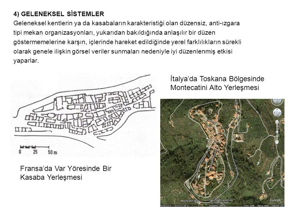 4) GELENEKSEL SİSTEMLER Geleneksel kentlerin ya da kasabaların karakteristiği olan düzensiz, anti-ızgara tipi mekan organizasyonları, yukarıdan bakıld