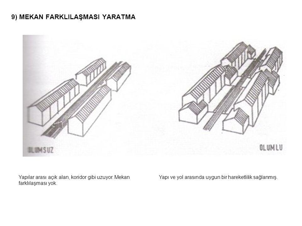 9) MEKAN FARKLILAŞMASI YARATMA Yapılar arası açık alan, koridor gibi uzuyor. Mekan farklılaşması yok. Yapı ve yol arasında uygun bir hareketlilik sağl