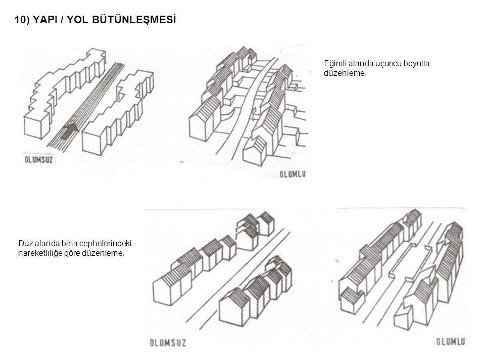 10) YAPI / YOL BÜTÜNLEŞMESİ Düz alanda bina cephelerindeki hareketliliğe göre düzenleme. Eğimli alanda üçüncü boyutta düzenleme.