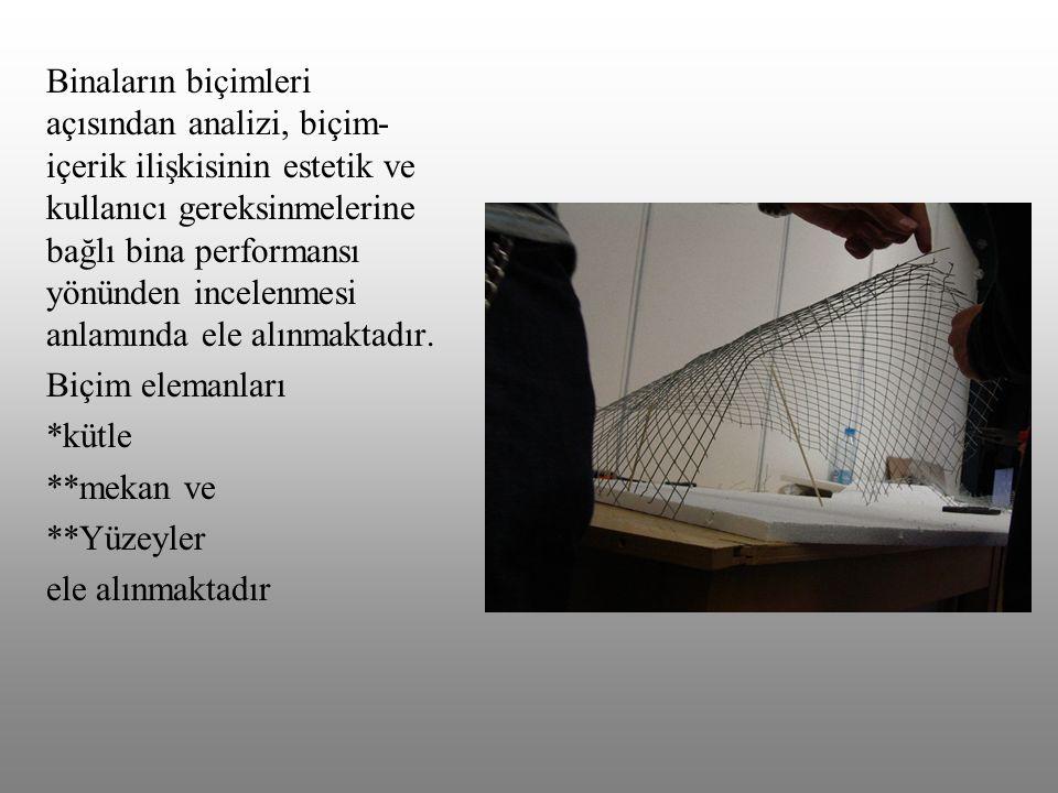 Binaların biçimleri açısından analizi, biçim- içerik ilişkisinin estetik ve kullanıcı gereksinmelerine bağlı bina performansı yönünden incelenmesi anl