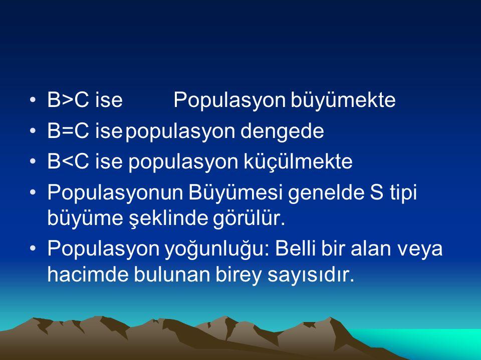 B>C ise Populasyon büyümekte B=C isepopulasyon dengede B<C ise populasyon küçülmekte Populasyonun Büyümesi genelde S tipi büyüme şeklinde görülür.
