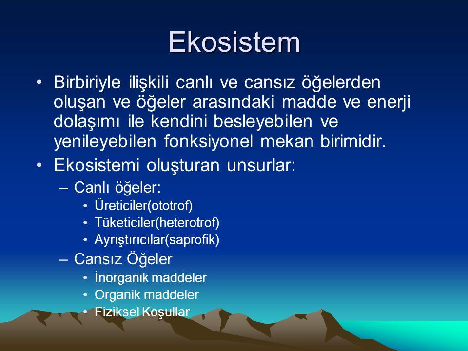 Ekosistem Birbiriyle ilişkili canlı ve cansız öğelerden oluşan ve öğeler arasındaki madde ve enerji dolaşımı ile kendini besleyebilen ve yenileyebilen fonksiyonel mekan birimidir.