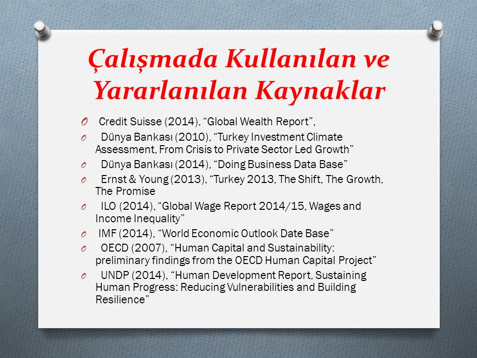 """Çalışmada Kullanılan ve Yararlanılan Kaynaklar O Credit Suisse (2014), """"Global Wealth Report"""", O Dünya Bankası (2010), """"Turkey Investment Climate Asse"""