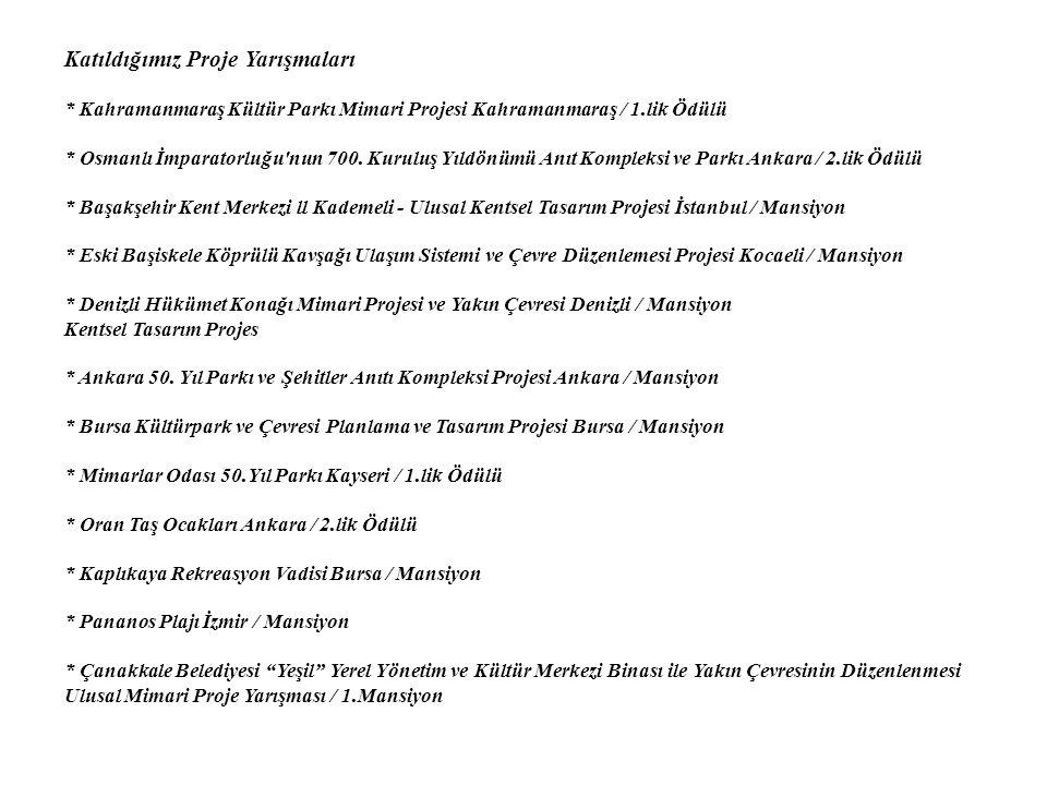 Katıldığımız Proje Yarışmaları * Kahramanmaraş Kültür Parkı Mimari Projesi Kahramanmaraş / 1.lik Ödülü * Osmanlı İmparatorluğu nun 700.