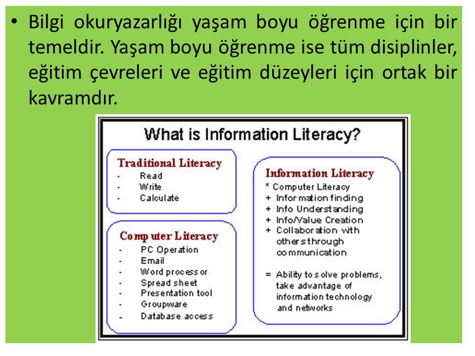 Bilgi okuryazarlığı yaşam boyu öğrenme için bir temeldir.