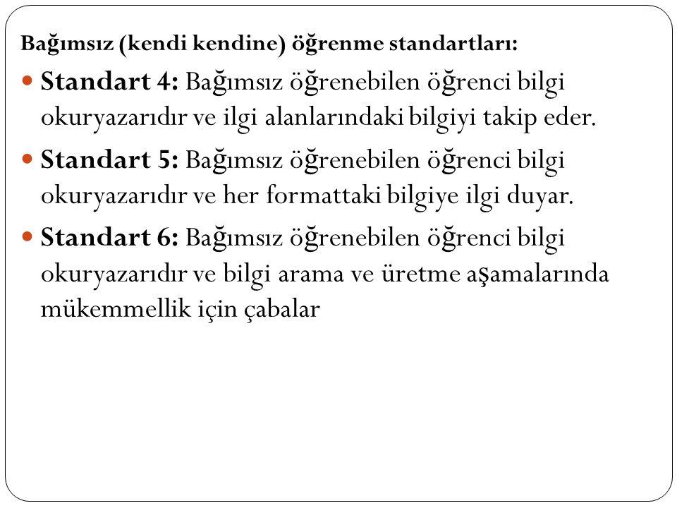 Ba ğ ımsız (kendi kendine) ö ğ renme standartları: Standart 4: Ba ğ ımsız ö ğ renebilen ö ğ renci bilgi okuryazarıdır ve ilgi alanlarındaki bilgiyi takip eder.