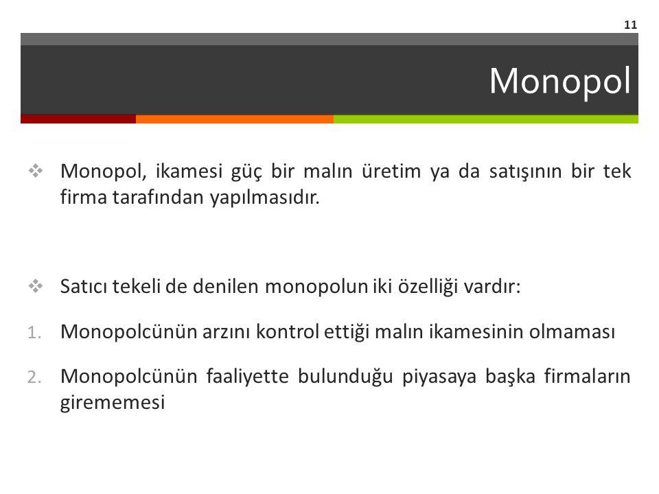 Monopol  Monopol, ikamesi güç bir malın üretim ya da satışının bir tek firma tarafından yapılmasıdır.  Satıcı tekeli de denilen monopolun iki özelli
