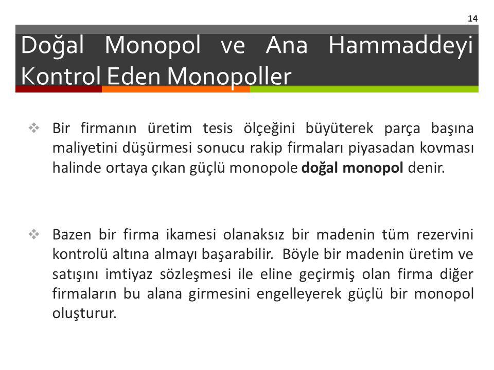Doğal Monopol ve Ana Hammaddeyi Kontrol Eden Monopoller  Bir firmanın üretim tesis ölçeğini büyüterek parça başına maliyetini düşürmesi sonucu rakip