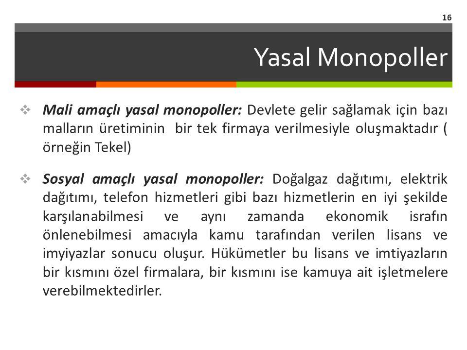 Yasal Monopoller  Mali amaçlı yasal monopoller: Devlete gelir sağlamak için bazı malların üretiminin bir tek firmaya verilmesiyle oluşmaktadır ( örne
