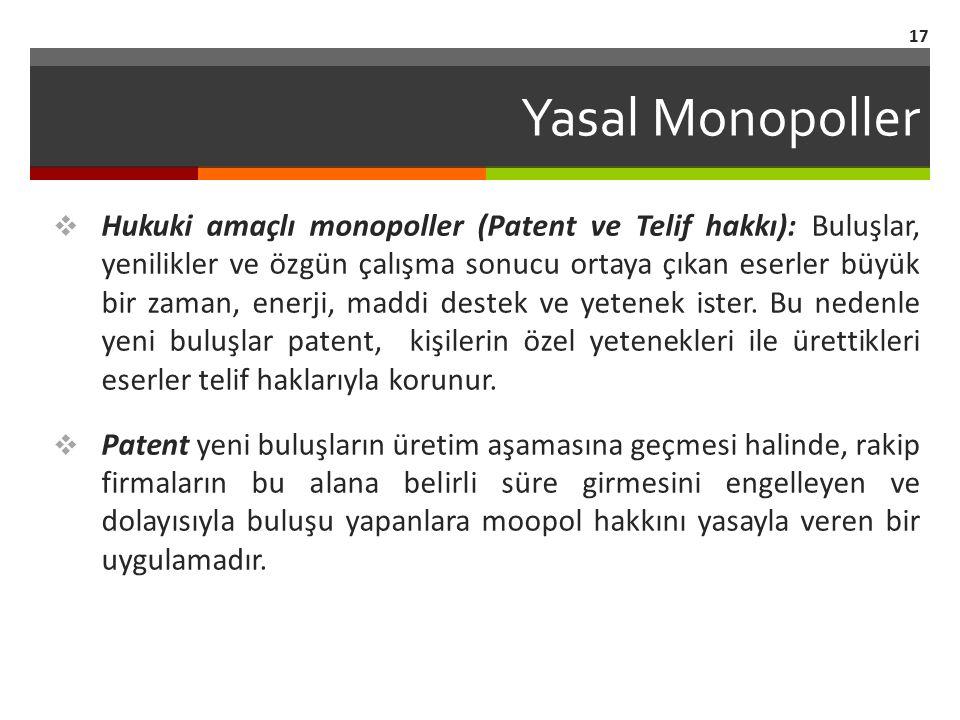 Yasal Monopoller  Hukuki amaçlı monopoller (Patent ve Telif hakkı): Buluşlar, yenilikler ve özgün çalışma sonucu ortaya çıkan eserler büyük bir zaman