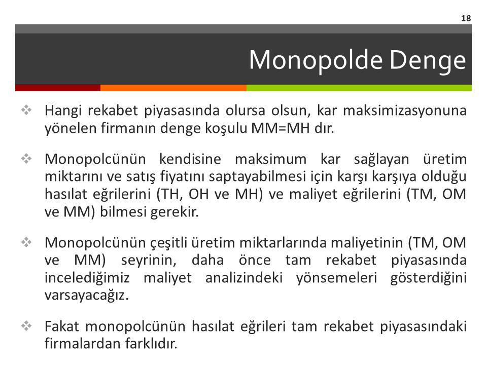 Monopolde Denge  Hangi rekabet piyasasında olursa olsun, kar maksimizasyonuna yönelen firmanın denge koşulu MM=MH dır.  Monopolcünün kendisine maksi