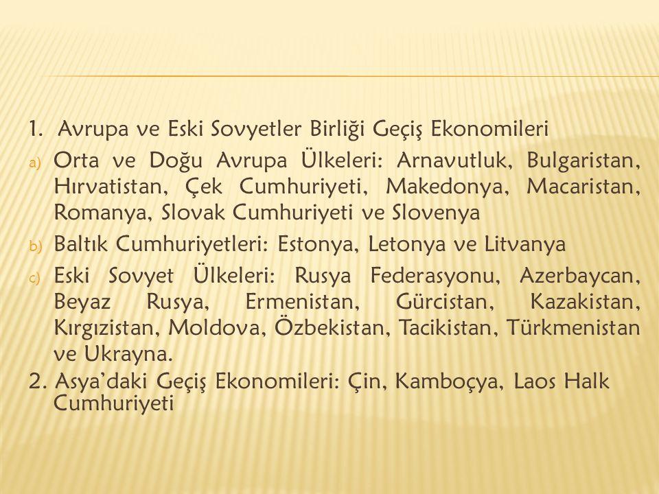 1. Avrupa ve Eski Sovyetler Birliği Geçiş Ekonomileri a) Orta ve Doğu Avrupa Ülkeleri: Arnavutluk, Bulgaristan, Hırvatistan, Çek Cumhuriyeti, Makedony