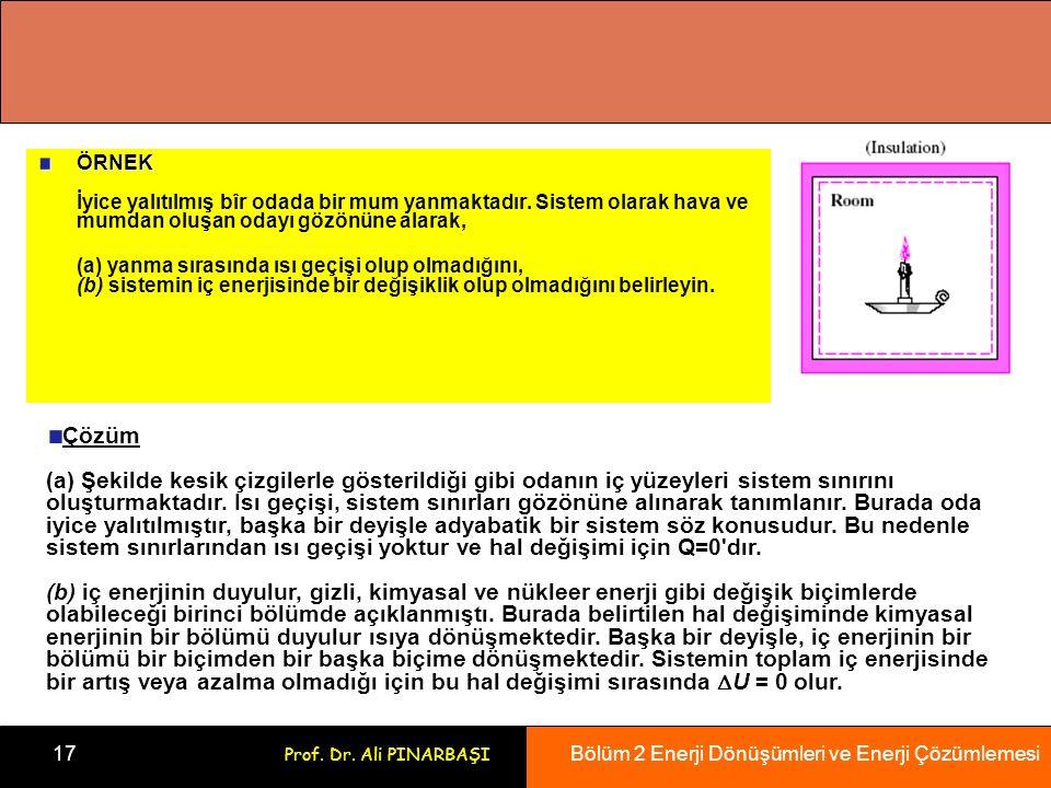 Bölüm 2 Enerji Dönüşümleri ve Enerji Çözümlemesi 17 Prof.