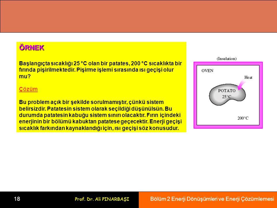 Bölüm 2 Enerji Dönüşümleri ve Enerji Çözümlemesi 18 Prof.