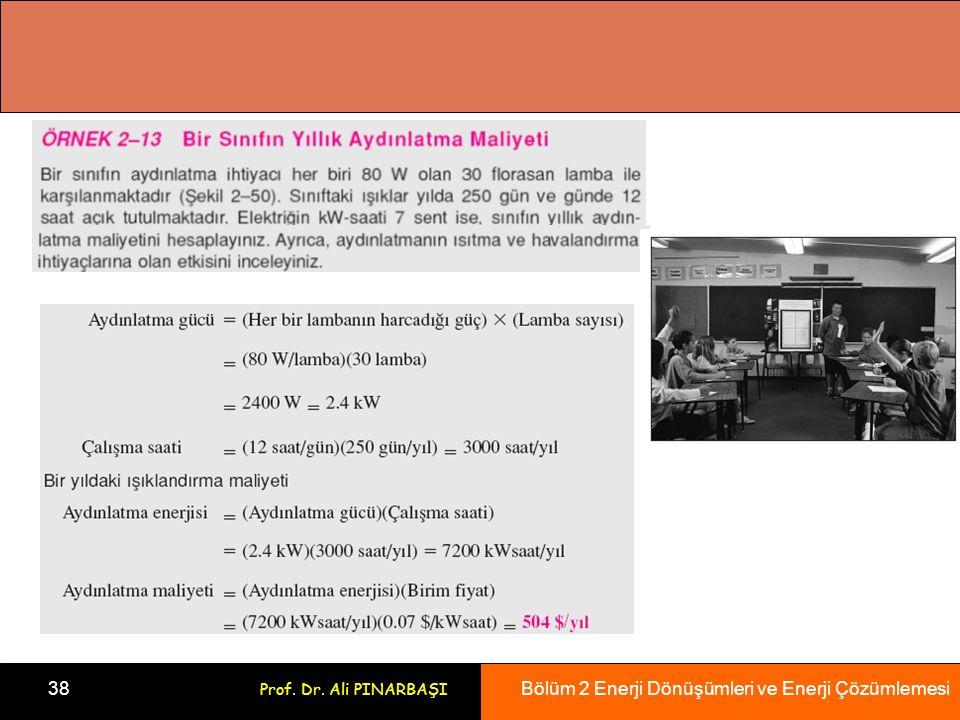 Bölüm 2 Enerji Dönüşümleri ve Enerji Çözümlemesi 38 Prof. Dr. Ali PINARBAŞI