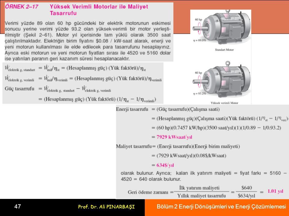 Bölüm 2 Enerji Dönüşümleri ve Enerji Çözümlemesi 47 Prof. Dr. Ali PINARBAŞI