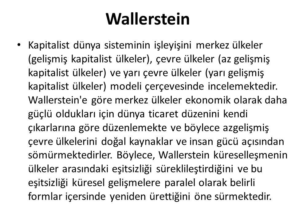 Wallerstein Kapitalist dünya sisteminin işleyişini merkez ülkeler (gelişmiş kapitalist ülkeler), çevre ülkeler (az gelişmiş kapitalist ülkeler) ve yarı çevre ülkeler (yarı gelişmiş kapitalist ülkeler) modeli çerçevesinde incelemektedir.